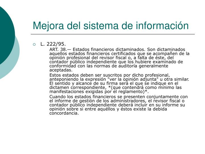 Mejora del sistema de información