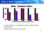 type of hash functions 1 2