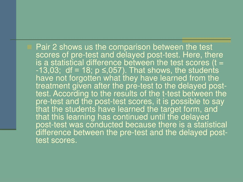 Pair 2 shows us the comparison between the test scores of pre-test and delayed post-test. Here, there is a statistical difference between the test scores (t = -13,03;  df = 18; p ≤,057). That shows, the students have not forgotten what they have learned from the treatment given after the pre-test to the delayed post-test. According to the results of the t-test between the pre-test and the post-test scores, it is possible to say that the students have learned the target form, and that this learning has continued until the delayed post-test was conducted because there is a statistical difference between the pre-test and the delayed post-test scores.
