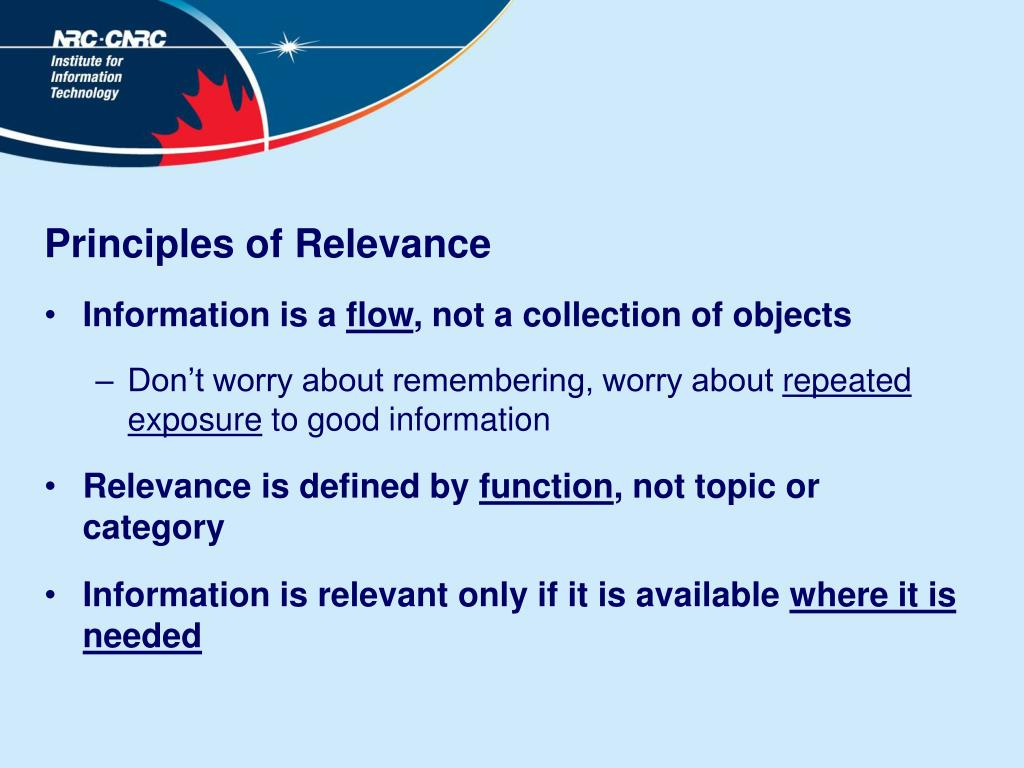 Principles of Relevance