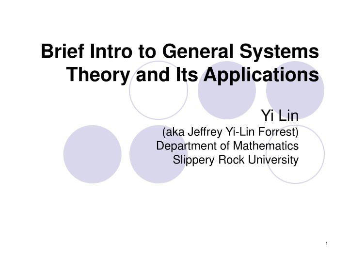 brief intro to general systems theory and its applications n.