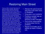 restoring main street