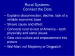 rural systems connect the dots