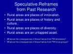 speculative reframes from past research