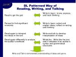 dl patterned way of reading writing and talking
