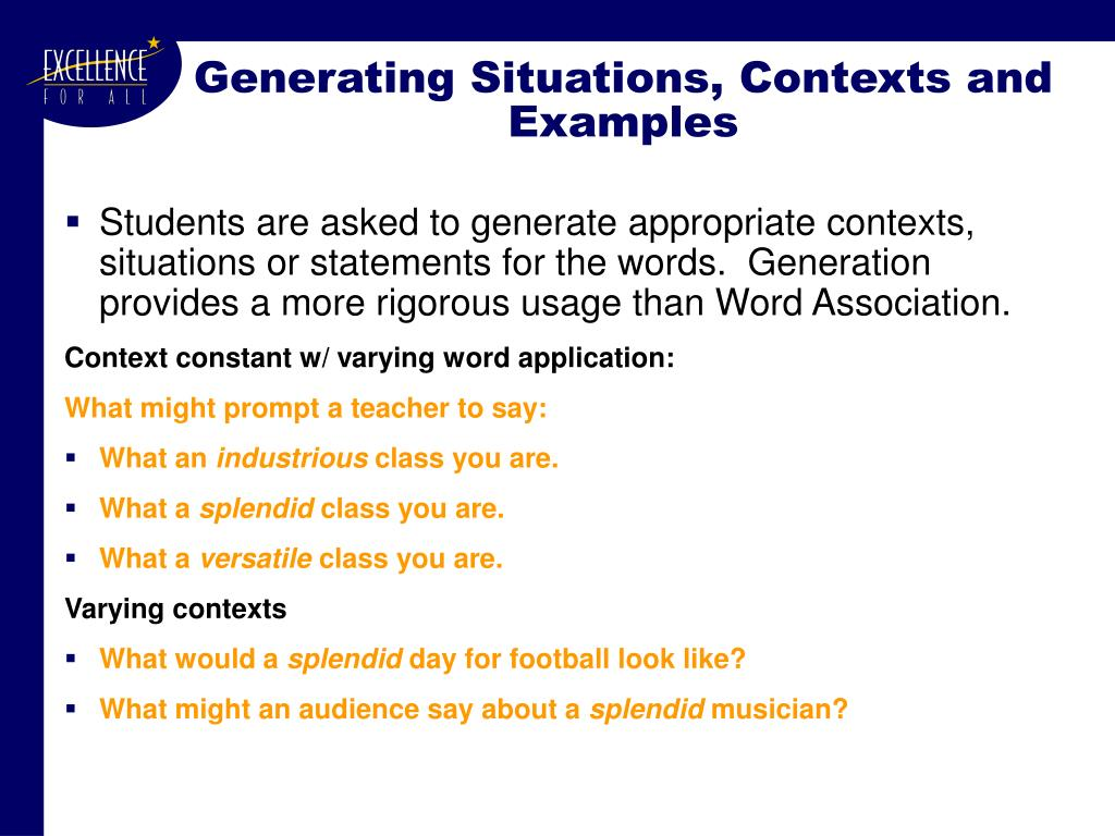 Generating Situations, Contexts and Examples