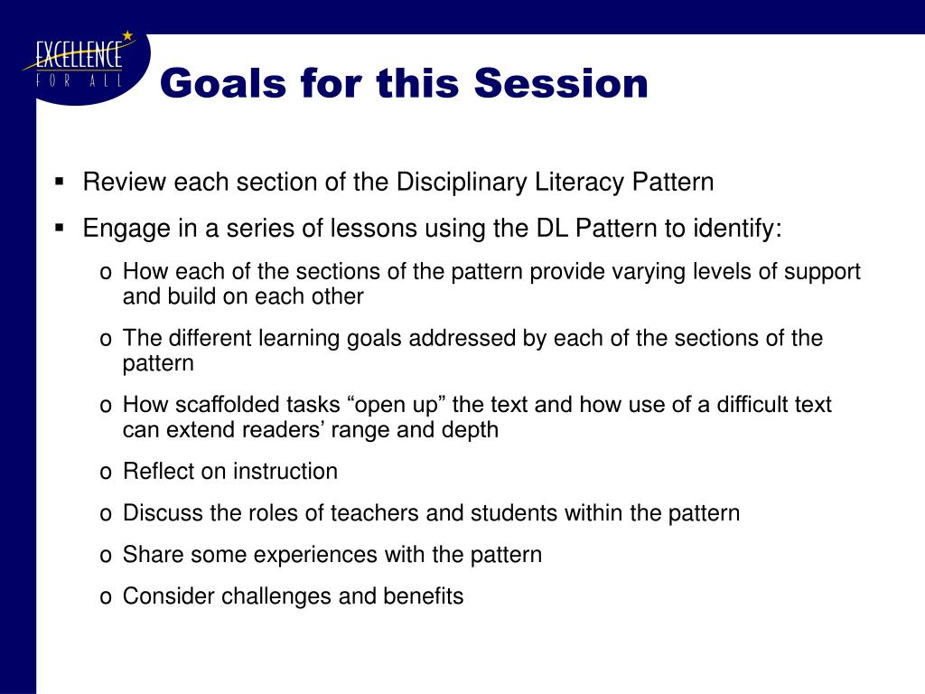 Goals for this Session
