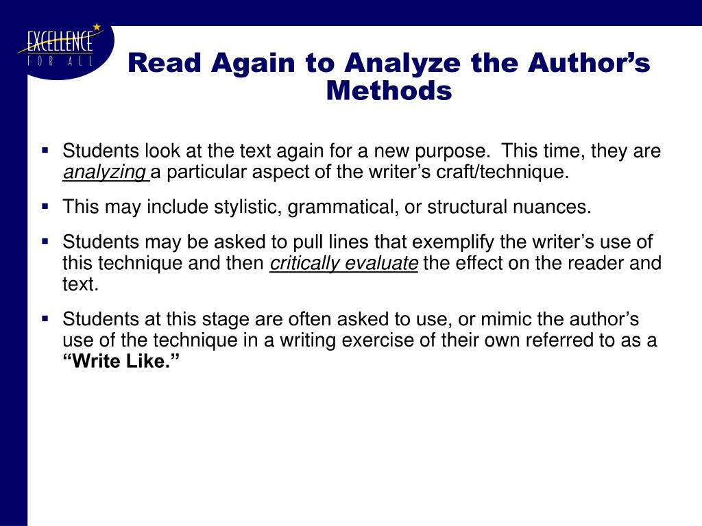 Read Again to Analyze the Author's Methods