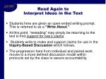 read again to interpret ideas in the text