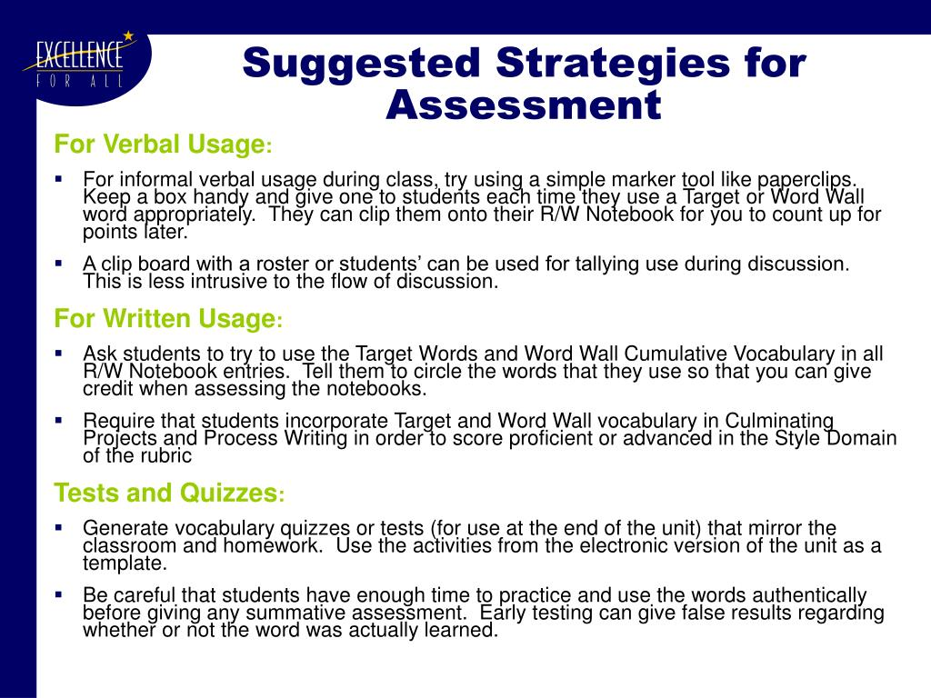 Suggested Strategies for Assessment
