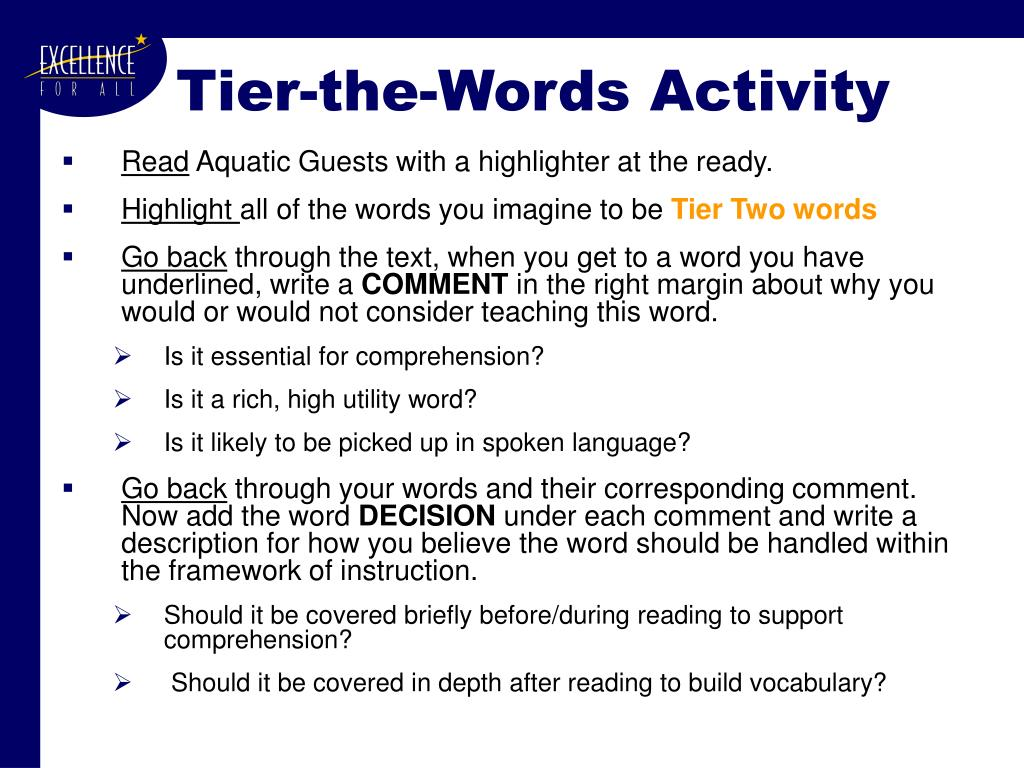 Tier-the-Words Activity