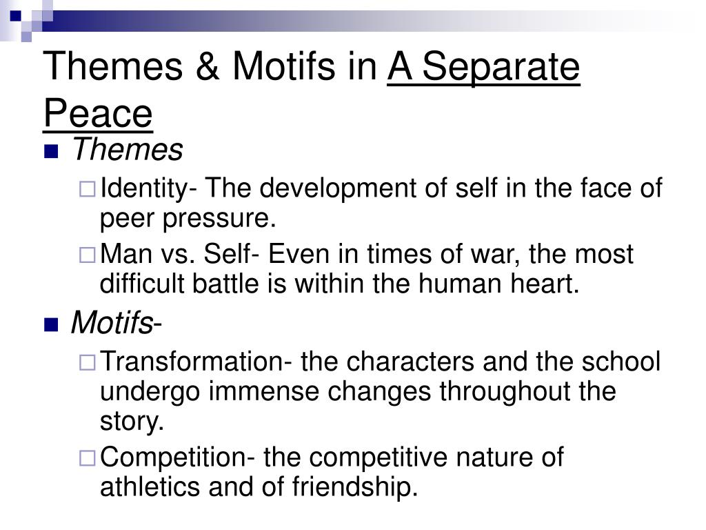 the theme of differences leading to hate in a separate peace by john knowles