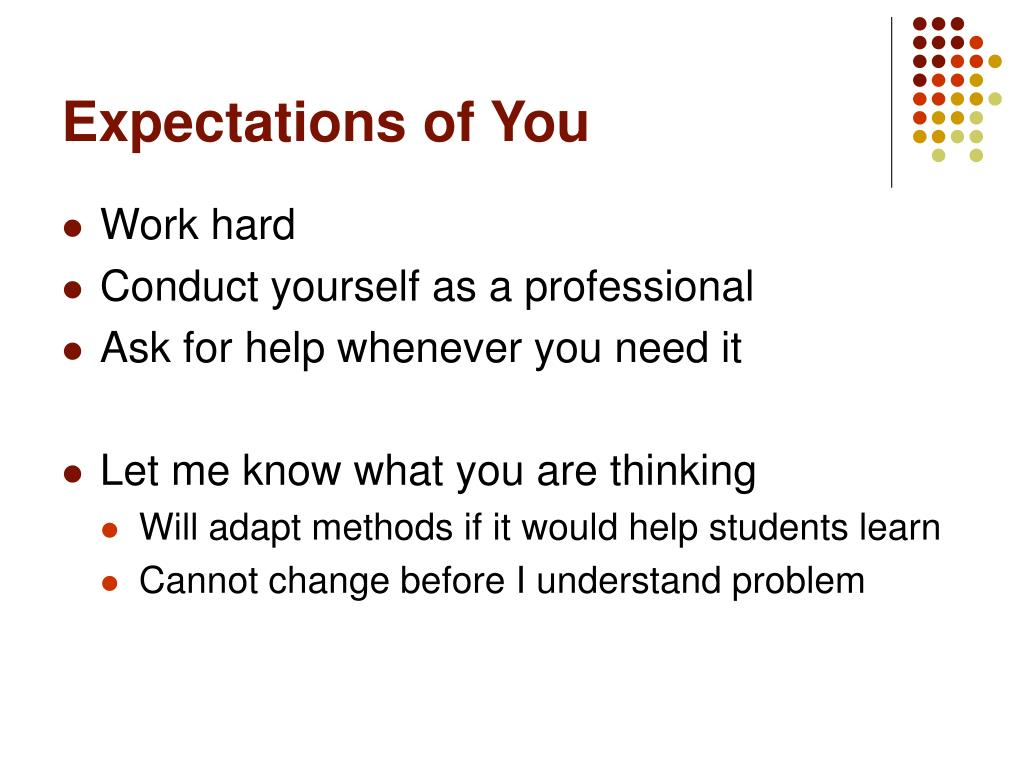 Expectations of You