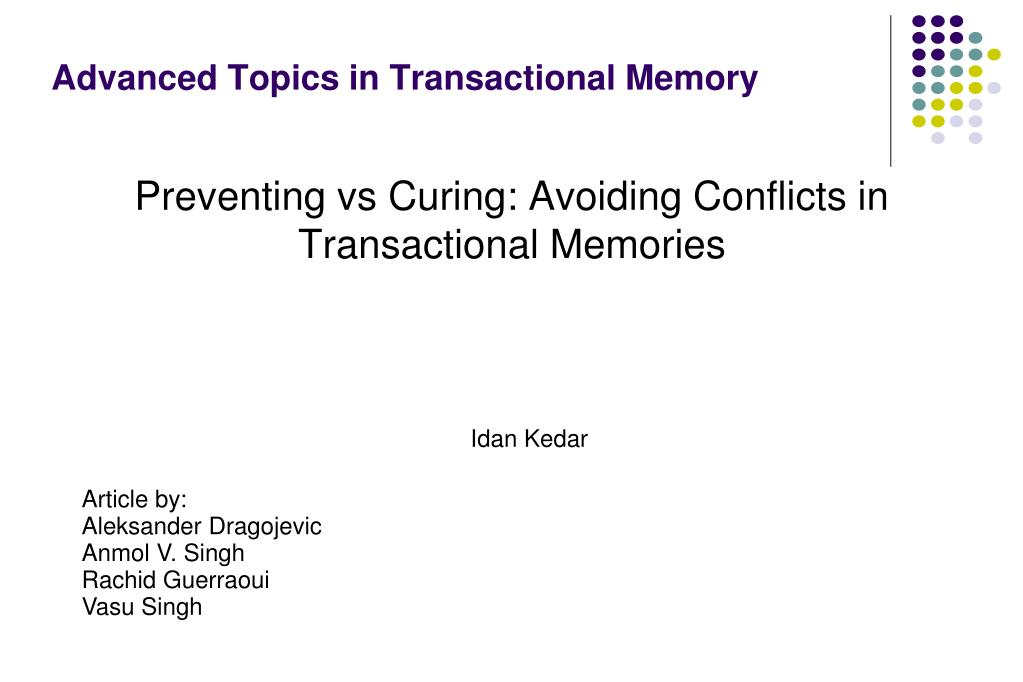 advanced topics in transactional memory l.