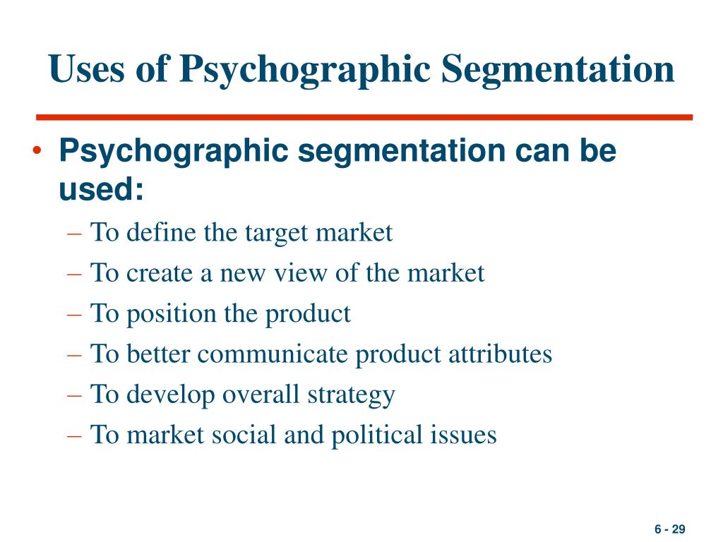 Uses of Psychographic Segmentation