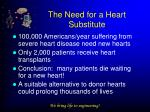 the need for a heart substitute
