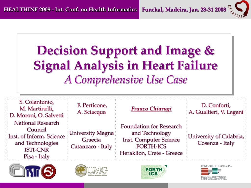 decision support and image signal analysis in heart failure a comprehensive use case l.