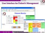 user interface for patient s management