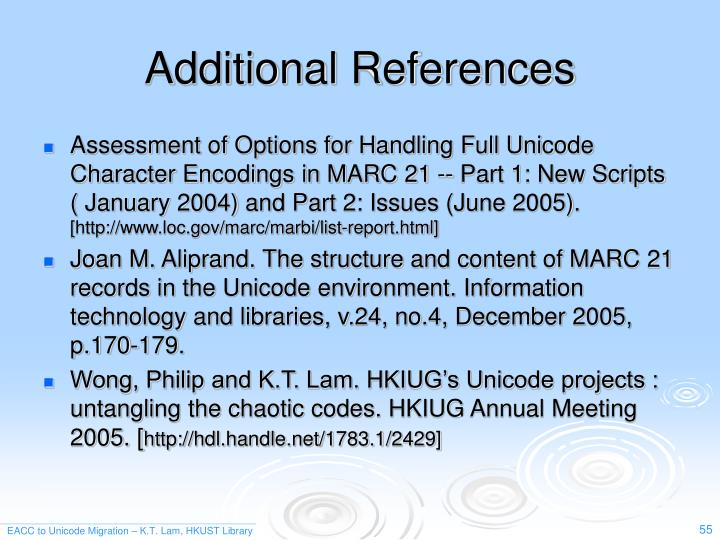 Additional References