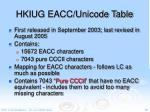 hkiug eacc unicode table