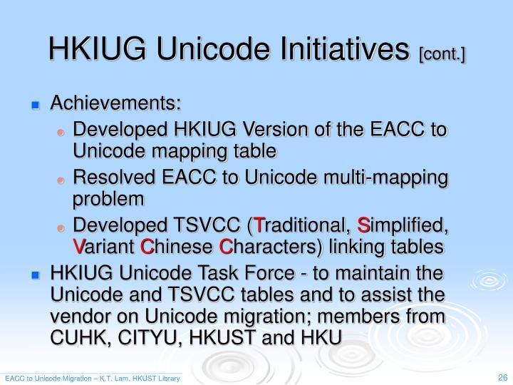 HKIUG Unicode Initiatives