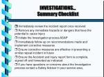 investigations summary checklist