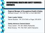 occupational health and safety services contacts