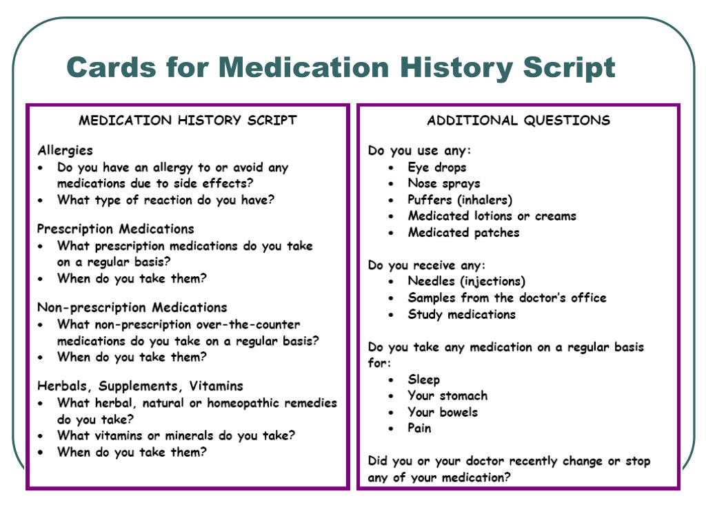 Cards for Medication History Script