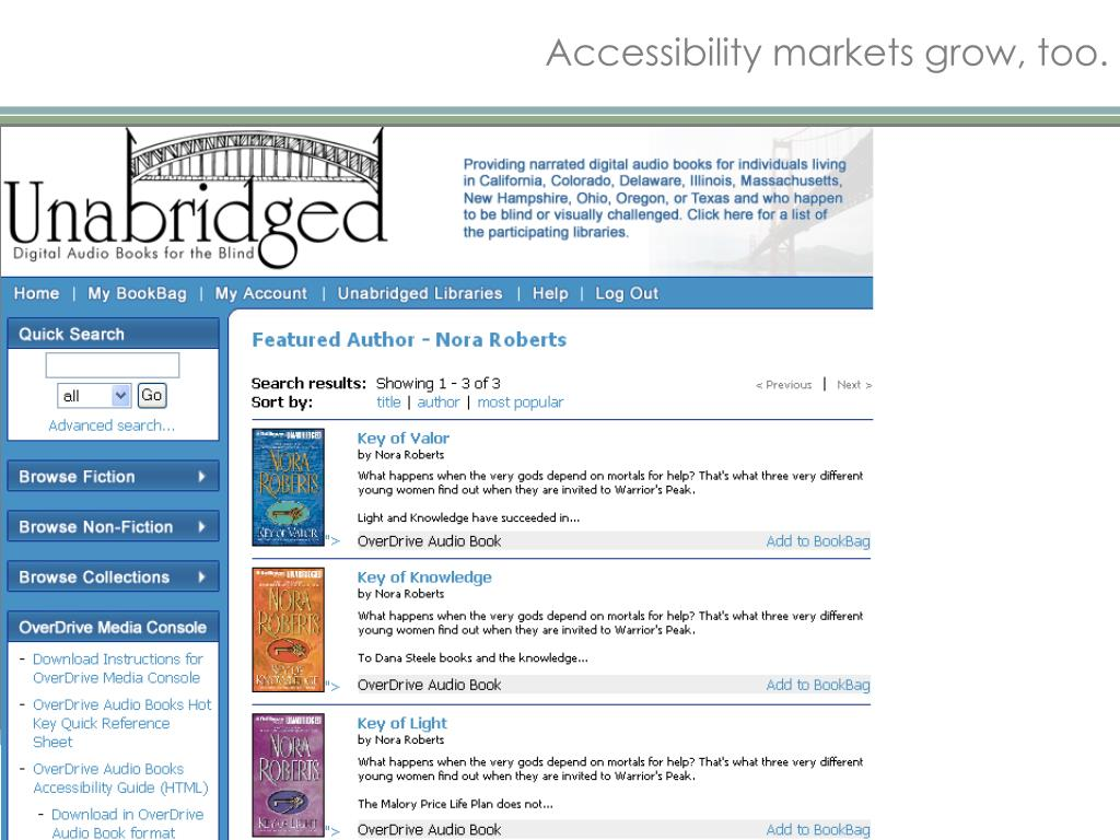 Accessibility markets grow, too.