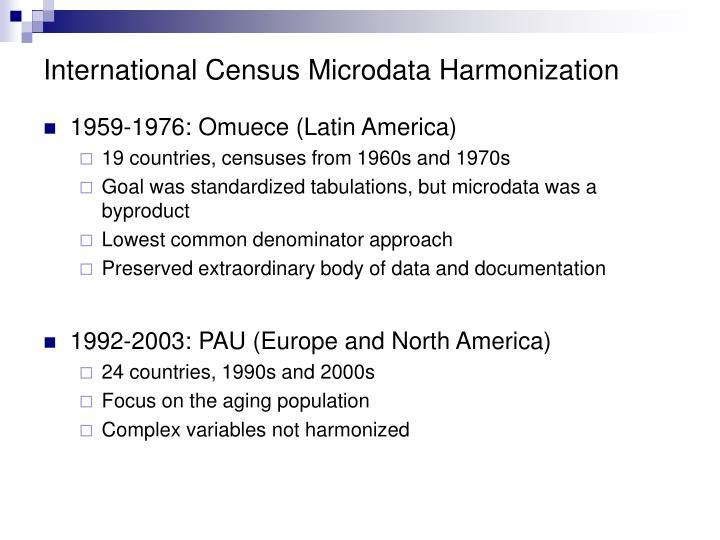 International Census Microdata Harmonization
