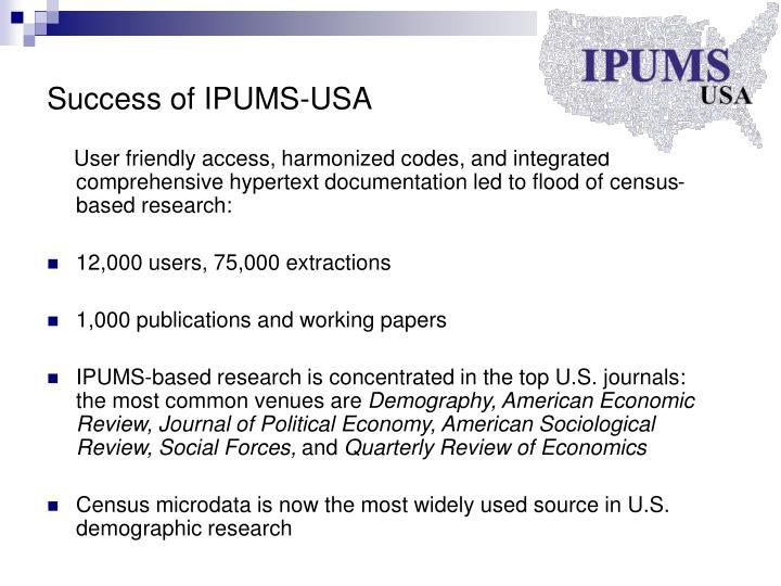Success of IPUMS-USA