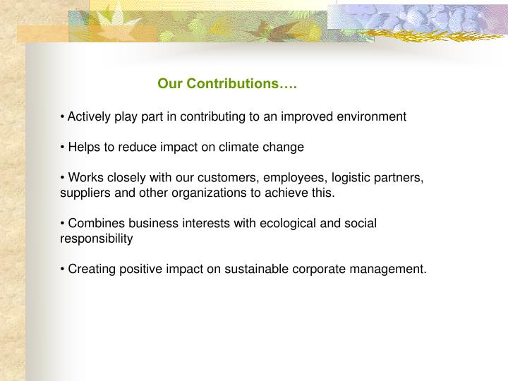 Our Contributions….