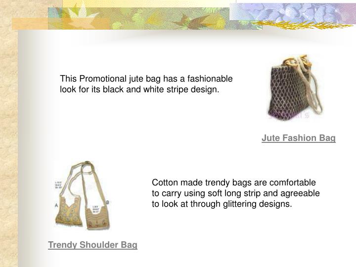 This Promotional jute bag has a fashionable look for its black and white stripe design.