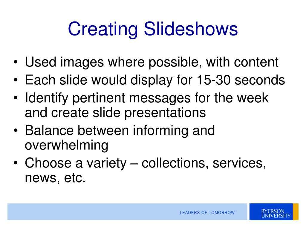 Creating Slideshows