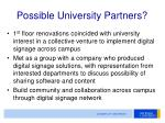 possible university partners