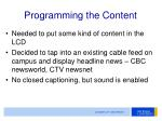 programming the content