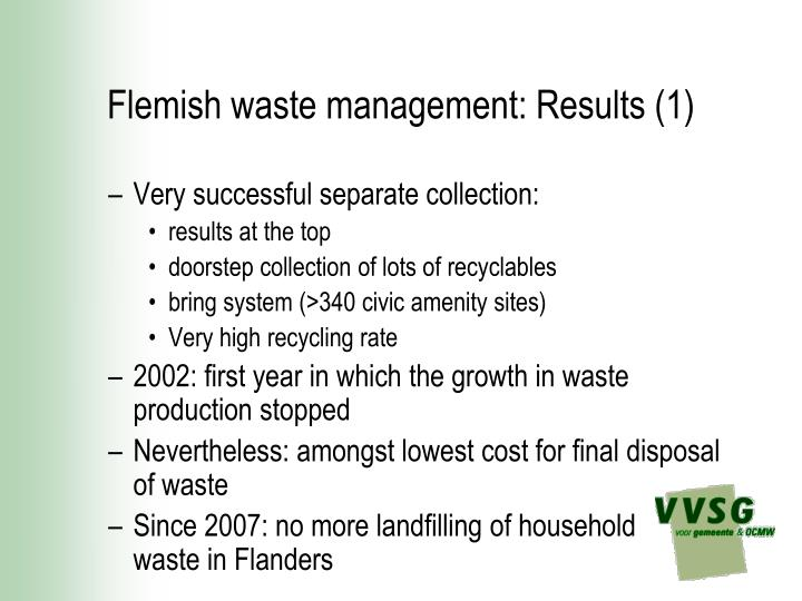 Flemish waste management results 1
