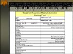 attendee list of items form