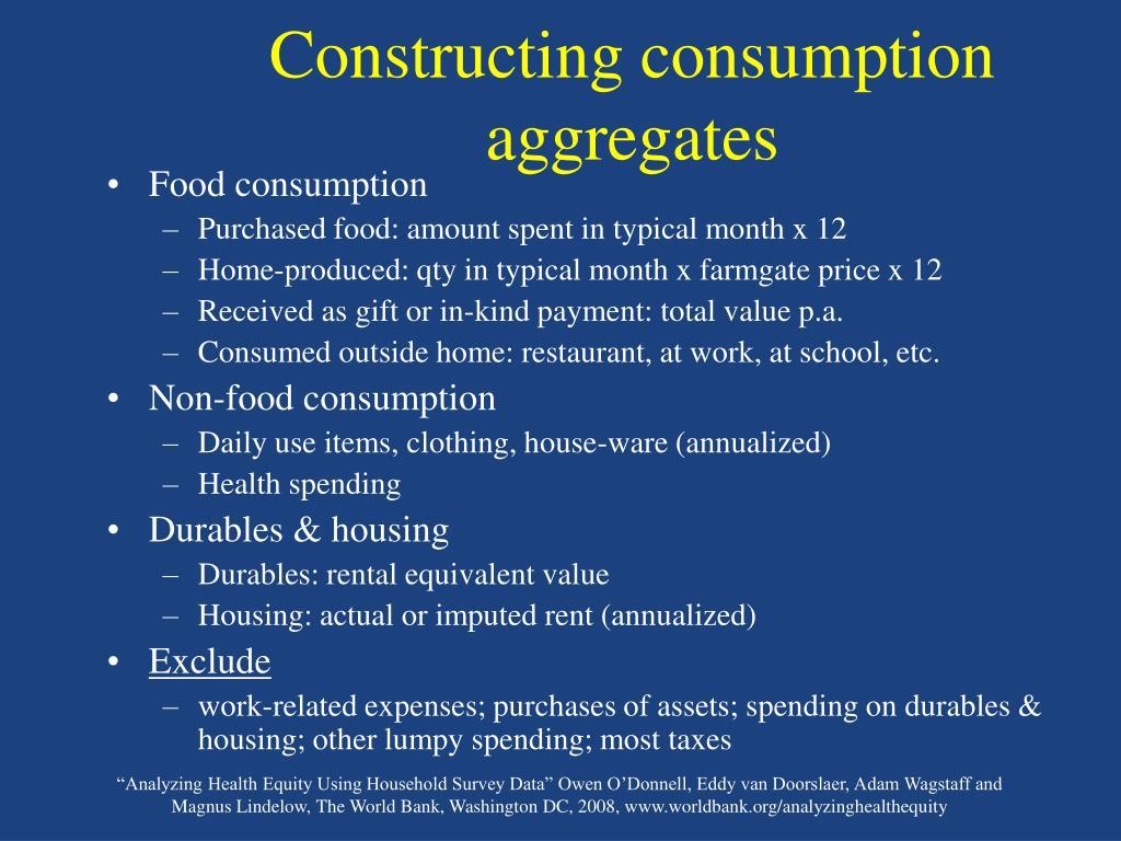 Constructing consumption aggregates