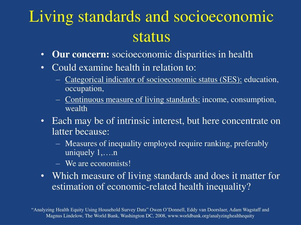Living standards and socioeconomic status