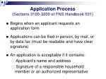 application process sections 3100 3200 of fns handbook 501