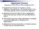 application process sections 3100 3200 of fns handbook 5016