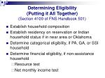 determining eligibility putting it all together section 4100 of fns handbook 501