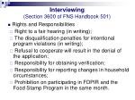 interviewing section 3600 of fns handbook 50114