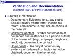 verification and documentation section 3500 of fns handbook 50117