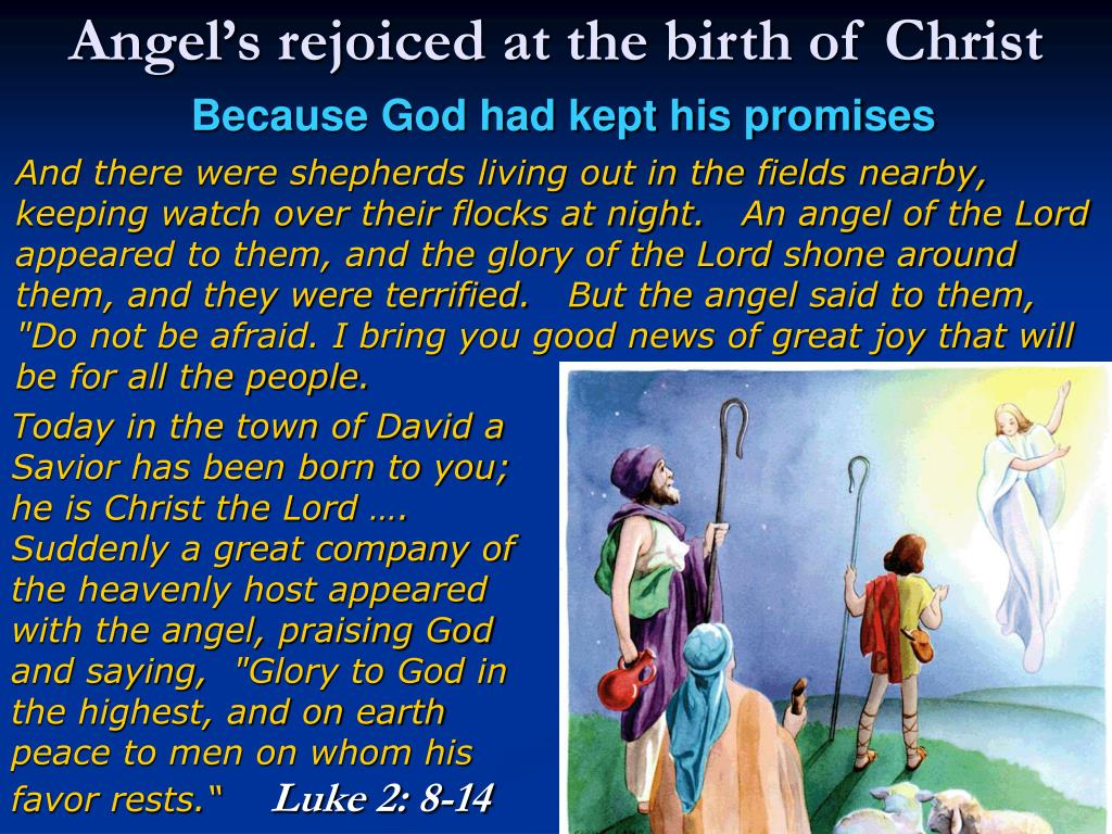 Angel's rejoiced at the birth of Christ