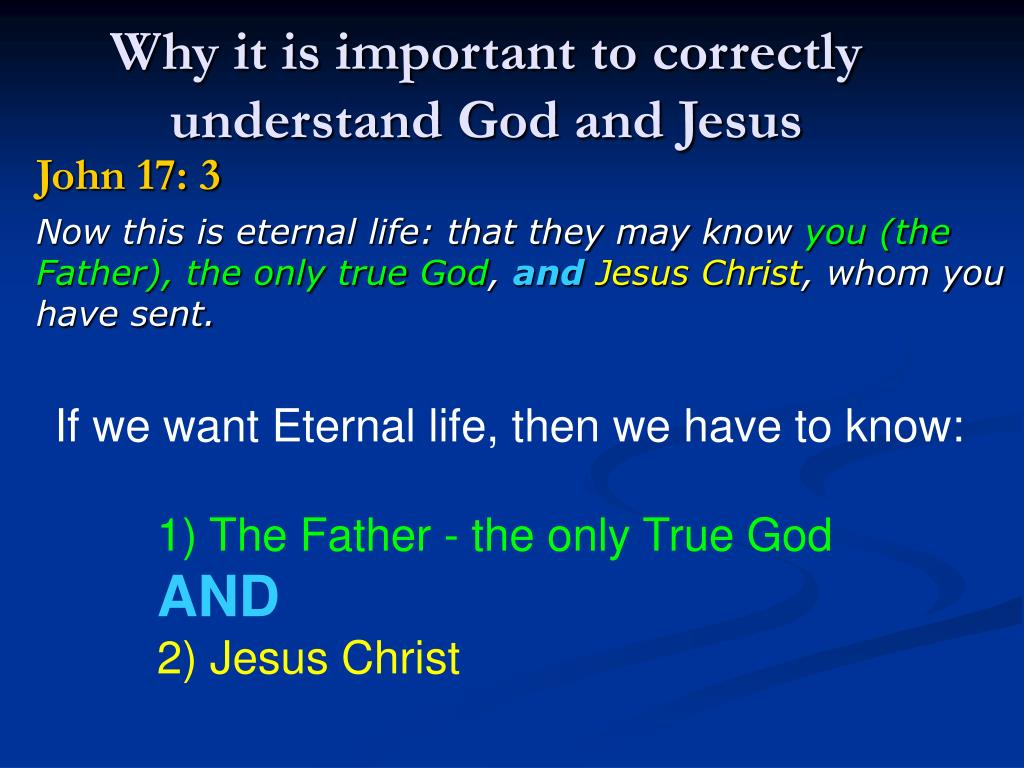 Why it is important to correctly understand God and Jesus