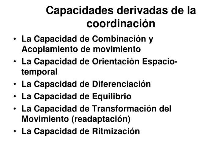 Capacidades derivadas de la coordinación
