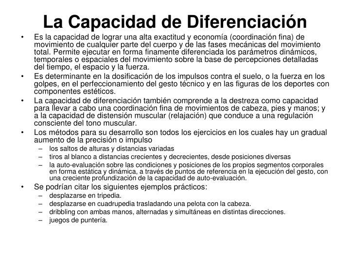La Capacidad de Diferenciación