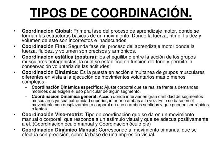 TIPOS DE COORDINACIÓN.